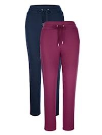 Pantalons de loisirs par lot de 2 à bandes contrastantes côtés