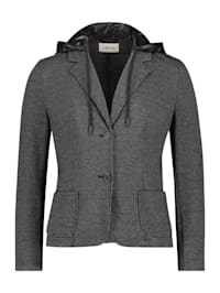 Blazer-Jacke mit Kapuze Materialmix