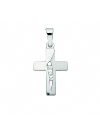 Damen & Herren Silberschmuck 925 Silber Kreuz Anhänger mit Zirkonia