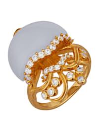 Quallen-Ring mit Chalcedon