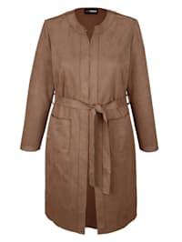 Dlouhé sako s módním dírkovaným vzorem