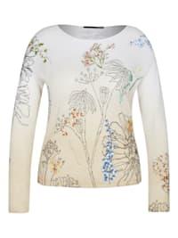 Pullover mit geblümtem Strick-Muster und langen Ärmeln