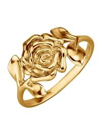 Bague -Rose- en or jaune 375