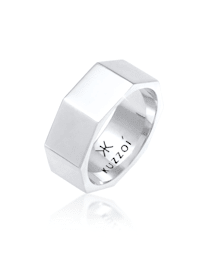 Ring Herren Bandring Achteck Hexagon 925 Silber