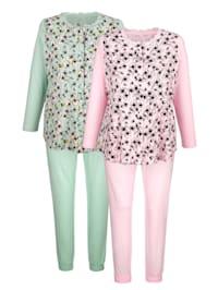 Pyjamas i 2-pack med romantiskt blommönster