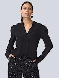 Bluse mit dekorativer Leistenzier