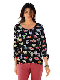 Shirt mit Katzendruck allover