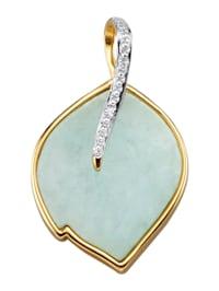Pendentif Feuille avec jade