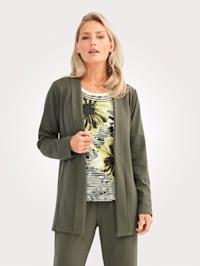Blusenjacke mit breiter Blende am Ausschnitt