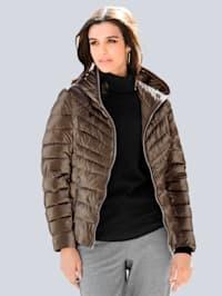 Gewatteerde jas van glanzend materiaal