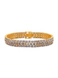 Tanzanitt-armbånd med lås i sølv 925, gullfarget