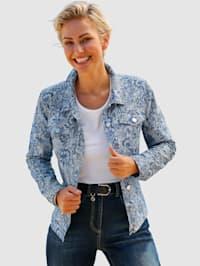 Jeansjakke med trykt blomstermønster