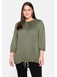 Shirt in A-Linie, mit kontrastfarbenem Bindeband