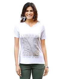 Tričko s potiskem listů na přední části