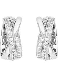 FAVS Damen-Creolen 925er Silber rhodiniert 50 Zirkonia