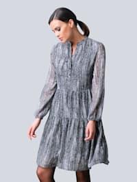 Kleid mit abstraktem Fischgrät-Allover-Print