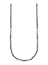 Collier avec rubis, saphirs et émeraudes