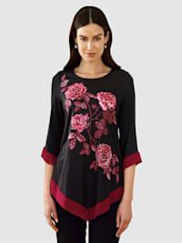 Shirt met modieuze rozenprint voor en steentjesversiering