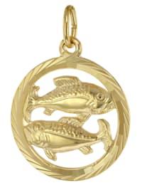 Sternzeichen Fische 333 Gold Anhänger Ø 16 mm