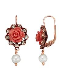 Örhängen med ros och pärla