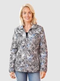 Prešívaná bunda s lesklou potlačou