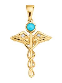 """Pendentif """"Bâton d'Asclépios"""" avec turquoise et diamants"""