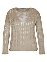 Pullover mit unifarbenem Stoff und überschnittenen Schultern