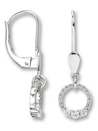 Damen Schmuck Ohrringe / Ohrhänger aus 333 Weißgold und Zirkonia