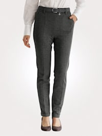 Pull-on trousers in a jacquard pattern