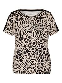 Shirt mit Animalprint und Glitzersteinen
