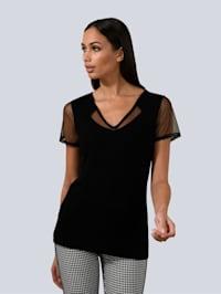 Shirt mit transparentem Mesh-Einsatz