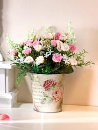Mini růže v kovovém květináči