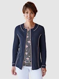 Tričkový kabátik s kontrastným lemovaním