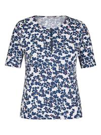 Shirt mit geblümtem Allover-Muster und Reißverschluss