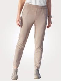 Bukse i imitert semsket skinn