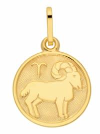 Damen & Herren Goldschmuck 333 Gold Sternzeichen Anhänger Widder Ø 11,8 mm