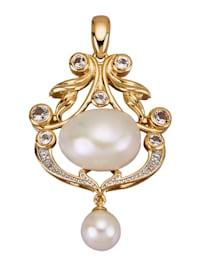 Pendentif avec perle Keshi, perle de culture d'eau douce et topazes blanches