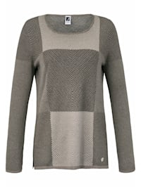 Rundhals-Pullover mit groß-kariertem Jacquard-Muster