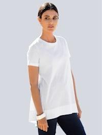 Shirt van een materialenmix met gemerceriseerd katoen