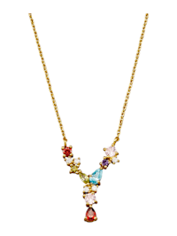 Halsband med bokstavshänge – Y med cubic zirconia i flera olika färger