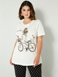 Shirt met siersteentjes op de print