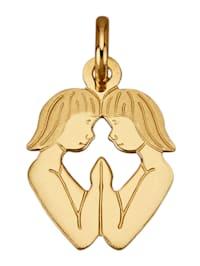 """Pendentif avec signe du zodiaque """"Gémeaux"""" en or jaune 750"""