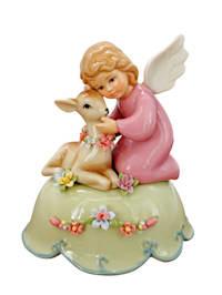Spieluhr 'Engel mit Rehkitz'
