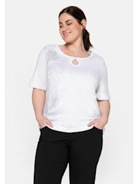 T-Shirt mit großem Blumendruck und Cut-out vorn