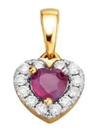 Pendentif Cœur avec rubis et brillants