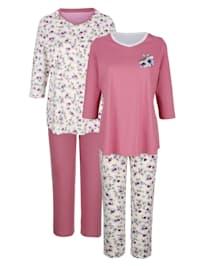Pyžama, 2ks s kvetinovou potlačou