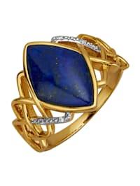 Ring med lapis lazuli och vita cubic zirconia