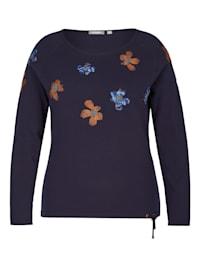 Pullover mit gestickten Blumen und Glitzernieten