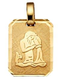 Pendentif signe du zodiaque Verseau en or jaune