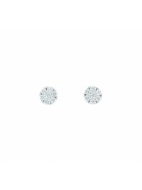 1001 Diamonds Damen Goldschmuck 585 Weißgold Ohrringe / Ohrstecker mit Zirkonia Ø 5,7 mm
